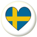 Sweden Country Flag Heart 25mm Button Badge